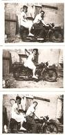 Lot De 3 Photographies Anciennes De Moto, Couple Sur Une Terrot De Gironde, Cliché Vers 1950 - Cars