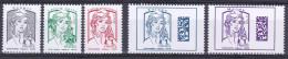 """France 2016 - Yv N° 5014 - 5015 - 5016 - 5019 - 5020 ** - """"Marianne"""" GOMMES (sans Mention De Poids) - France"""