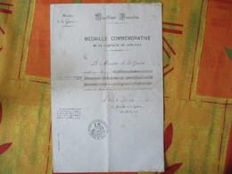 MEDAILLE COMMEMORATIVE DE LA CAMPAGNE DE 1870-1871 MINISTERE DE LA GUERRE REPUBLIQUE FRANCAISE 14 OCT 1912 GRANDE CHANCE - Documenti