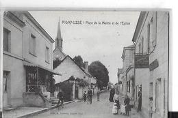 RIGNY  USSE   PLACE DE LA MAIRIE   1 PLAN MAGASIN DE CARTES POSTALESILLUSTREES  PANNEAU  PERSONNAGE Pli Coin  DEPT 37 - Autres Communes