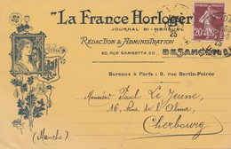 "25 - BESANCON - ""La France Horloger"" Journal Bi Mensuel 20, Rue Gambetta - Besancon"