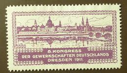 Werbemarke Cinderella Poster Stamp  Kongress Der Gewerkschaften Dresden  1911 #82 - Vignetten (Erinnophilie)
