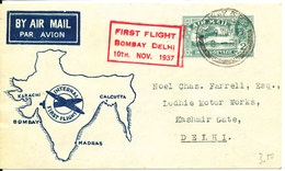 India Air Mail Cover First Flight Bombay - Delhi 10-11-1937 (cover In Excellent Condition) - Airmail