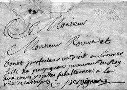 L.A.C. De CLAIRA (Roussillon) Le 22/2/1732 à ROVIRA,Procureur Du Roy à PERPIGNAN. - Poststempel (Briefe)