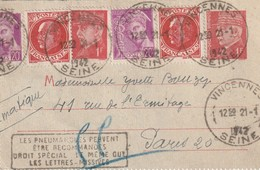 Devant Entier Postal Petain Pneumatique 1942 - Entiers Postaux