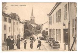 CPA 88 XERTIGNY - Grande Rue - Belle Animation - Eglise  - Enseigne Notaire - Xertigny
