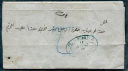 """EGYPTE - LETTRE MANUSCRITE DE MANSURA LE 26/5/1864, AVEC CACHET BLEU """" POSTA EUROPA """" FATIGUÉ MAIS RARE - Préphilatélie"""