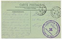 """AIX-LES-BAINS (Savoie) - Cachet Hopital Bénévole """"FORMATION MUNICIPALE N°237 Bis Place Du Revard"""" Sur CPIF 1915 - Postmark Collection (Covers)"""