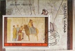 Ajman 1972 Bf. Mitologia Greca Europa Toro Zeus Affresco Pompei Sheet Perf. CTO - Ajman