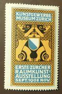 Werbemarke Cinderella Poster Stamp Zürich Raumkunstausstellung 1908   #129 - Cinderellas