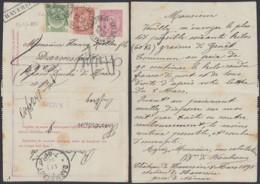 "BELGIQUE EP 10cROUGE +COB 56+57 OBL AMBULANT ""BRUX-ARLON N°3""+GRIFFE ""HAVERSIN""VERS ALL  (DD) DC-6201 - 1884-1891 Leopoldo II"