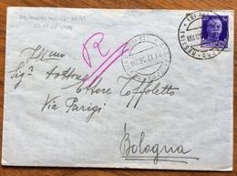 AMBULANTE PALERMO - MESSINA 119  (B) 27/12/36 SU IMPERIALE 50 C. - BUSTA PER  ETTORE TOFFOLETTO BOLOGNA - Storia Postale