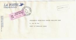CHEQUES POSTAUX NANTES  Lettre Recommandée La Poste En Franchise Etiquette Rose Griffe RECOMMANDE Ob 14 11 1989 - Francia