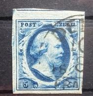 NEDERLAND  1852    Nr. 1  Ruim Gerand / Gebuur / Donkerblauw   Stempel K 56      CW  50,00 - Period 1852-1890 (Willem III)