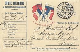 Carte Postale Franchise Militaire Gloire Aux Armées Alliées  Paris Rue St Denis - Postmark Collection (Covers)