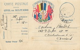 Carte Franchise Militaire  Gloire Aux Armées Alliées Trésor Et Postes - Postmark Collection (Covers)