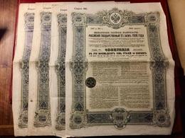 EMPRUNT  De  L' ÉTAT  RUSSE  5%  1906  -------- 4  Obligations  De  187,50 Roubles - Rusland