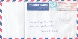 VIGNETTE D'AFFRANCHISSEMENT  NOUVELLE-CALEDONIE SUR LETTRE. 12 03 2002. PREMIER JOUR. BELLE-VIE.POUR PARIS - Frankeervignetten
