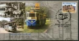 India 2019 Electric & Horse Tram Locomotive Transport Kolkata Special Cover # 6610 - Trenes