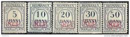 Militärverwaltung In Rumänien MViR 1918: Michel-No. Porto 1-5 * Falz MH (Michel € 45.00 Für **) - Occupation 1914-18