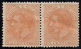 1882-ED. 210 ALFONSO XII 15 CTS NARANJA EN PAREJA - NUEVO SIN FIJASELLOS GOMA ORIGINAL- - Ungebraucht