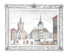 Porceleinkaart  -  Grand' Place  (bruin-blauw) - Courtrai - Kortrijk  - 13x11 Cm - Kortrijk