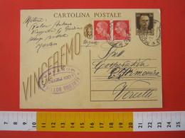 PC.3 ITALIA REGNO CARTOLINA POSTALE 1942 VINCEREMO 30 CENT + FR 40 Cent DA MORTARA PAVIA 1943 7/8 Timbro ALBERGO HOTEL - 1900-44 Vittorio Emanuele III
