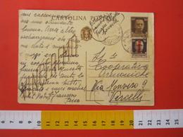 PC.3 ITALIA REGNO CARTOLINA POSTALE 1942 VINCEREMO 30 CENT + FR 30 Cent DA ALPICELLA VARAZZE SAVONA 1944 X VERCELLI - 4. 1944-45 Repubblica Sociale
