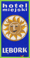 Voyo HOTEL MIEJSKI Lebork (Lauenburg) Poland Hotel Label 1970s Vintage Blue - Hotel Labels