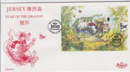 Jersey FDC 2000 Year Of The Dragon Souvenir Sheet (NB**LAR7-45) - Nouvel An Chinois