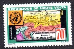 UPPER VOLTA - 1963 WORLD METEOROLOGICAL DAY 70F STAMP FINE MNH ** SG 113 - Upper Volta (1958-1984)