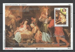 UU968 ONLY ONE IN STOCK PARAGUAY ART PAINTINGS RUBENS CHRISTMAS 1990 MICHEL 40 EURO BL187 MNH - Rubens