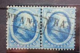 NEDERLAND  1864    Nr. 4    Horizontaal Paar  Met  Kastje Stempel    CW  65,00 - Period 1852-1890 (Willem III)