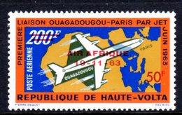 UPPER VOLTA - 1963 JET AIRPLANE DOUGLAS DC-8 200F STAMP O/P AIR AFRIQUE ANNIVERSARY FINE MNH ** SG 136 - Upper Volta (1958-1984)