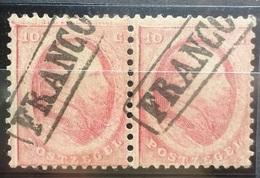 NEDERLAND  1864    Nr. 5    Horizontaal Paar  Met  Kastje Stempel    CW  32,50 - Period 1852-1890 (Willem III)