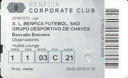 Sport Ticket UL000784 - Football (Soccer Calcio) Benfica Vs Grupo Desportivo De Chaves 2019-02-25 - Tickets D'entrée