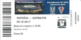 Sport Ticket UL000798 - Football (Soccer Calcio) Ukraine Vs Croatia 2017-10-09 - Tickets D'entrée