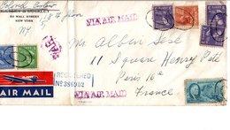 USA ETATS UNIS AFFRANCHISSEMENT COMPOSE SUR LETTRE POUR LA FRANCE 1947 - Vereinigte Staaten