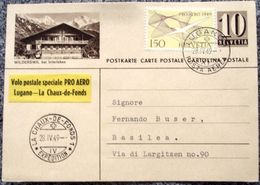 PRO AERO 1949: Zu45 Mi 518 Yv PA44 WILDERSWIL Bei Interlaken Volo Lugano La-Chaux-de-Fonds LUGANO 28.V.49 (Zu CHF 70.00) - Posta Aerea