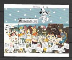 Disney Sierra Leone 1991 Christmas Cards #1 MS MNH - Disney