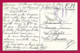 Correspondance De 1940 - Voyagée De Juillac En Corrèze Vers Les Rousses Dans Le Jura - Protagonistes Nommés Fournier - Poststempel (Briefe)