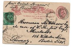 QLD022 / AUSTRALIEN - QUEENSLAND - Ganzsache Aufgewertet 1892 Brisbane Nach  Deutschland, Berlin, - Briefe U. Dokumente