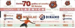Sport Ticket UL000806 - Football (Soccer Calcio) Metalac Vs Dinamo Zagreb 2018-09-09 - Tickets D'entrée