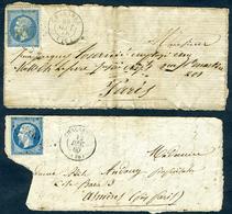 Obl. Chalabre (Aude) 2 Devants De Lettres - PC698 Sur N°14 Et GC837 Sur N°22 - Postmark Collection (Covers)