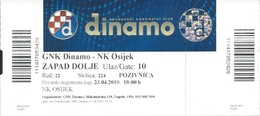Sport Ticket UL000811 - Football (Soccer Calcio) Dinamo Zagreb Vs Osijek 2019-04-23 - Tickets D'entrée