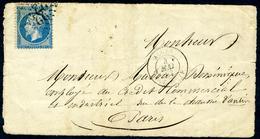 Obl. ALGER BAT.A VAP. (Bateau à Vapeur) GC2240 Sur N°22 - Devant De Lettre - Marcophilie (Lettres)