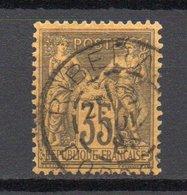 - FRANCE N° 93 Oblitéré CAD - 35 C. Violet-noir S. Jaune Type Sage II - Cote 50 EUR - - 1876-1898 Sage (Tipo II)