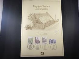 "BELG.2004 3260-3263 Filatelic Card (A4) With Signature Guillaume Broux (creator) "" TOURISME :Pilgrimage Places "" - FDC"