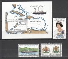 D509 1985 GRENADA GRENADINES SHIPS VISIT ELIZABETH #713-5 MICHEL 15,5 EURO BL+SET MNH - Königshäuser, Adel