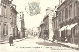 Dépt 14 - LA RIVIÈRE-SAINT-SAUVEUR - La Grande Rue - (Collection SESCAU, Imprimeur, N° 2) - CAFÉ Léon LEBAS - Sonstige Gemeinden